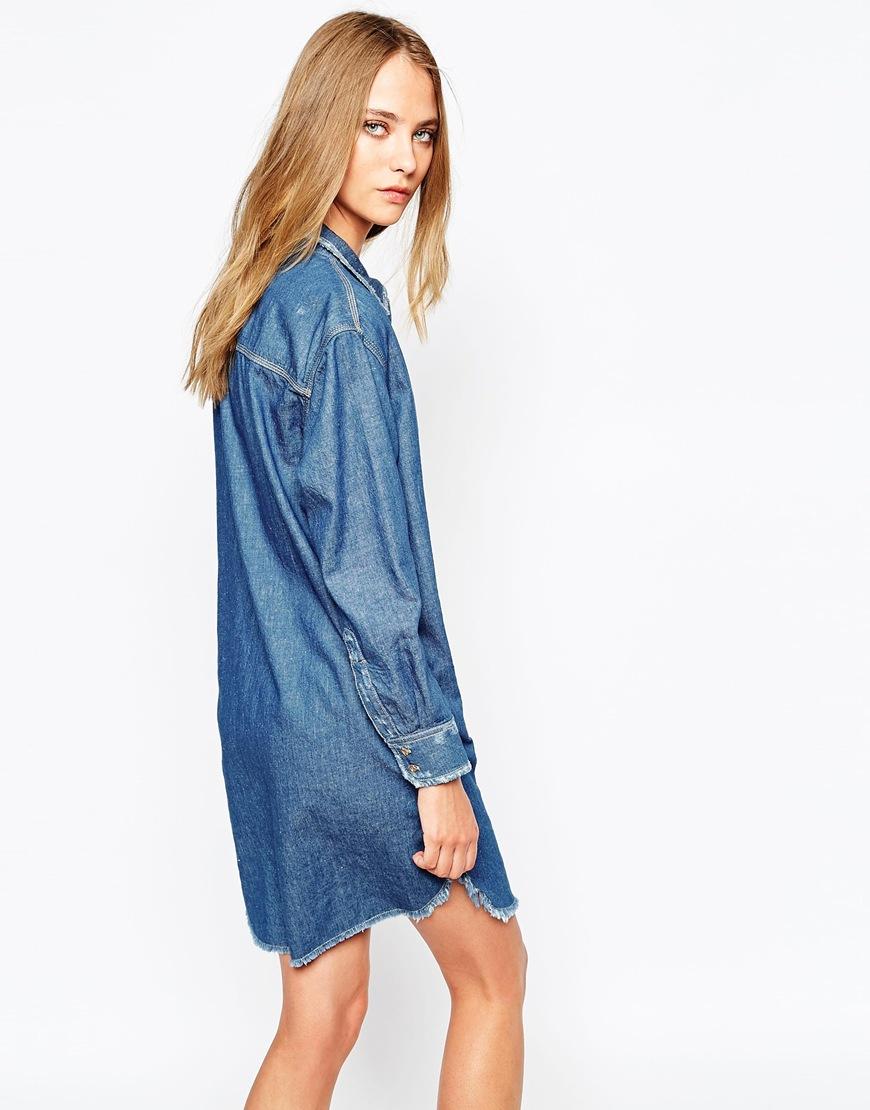 d2483d2e2f Lyst - Gat Rimon Agata Longline Denim Shirt Dress in Blue
