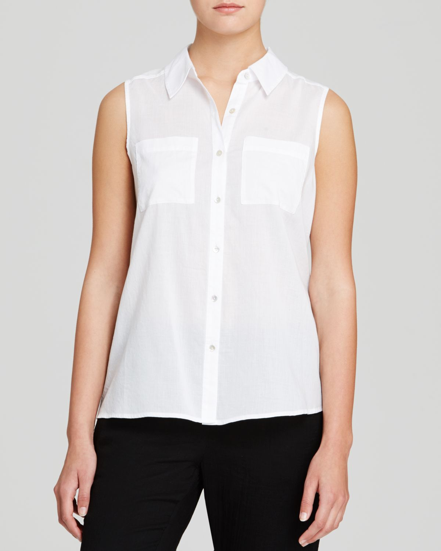 Eileen Fisher Classic Collar Sleeveless Shirt In White Lyst