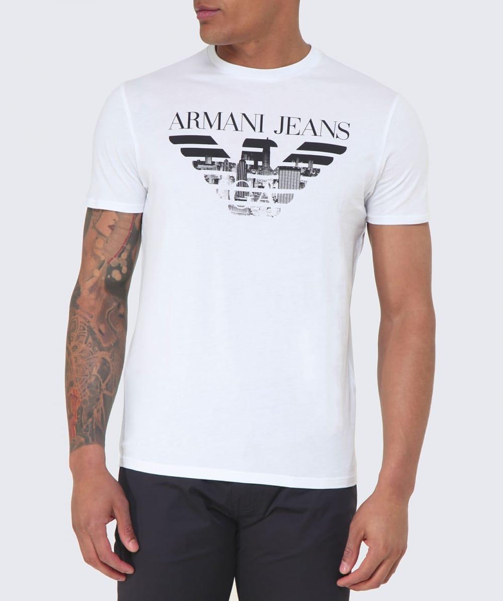 armani jeans logo stamp t shirt in white for men lyst. Black Bedroom Furniture Sets. Home Design Ideas