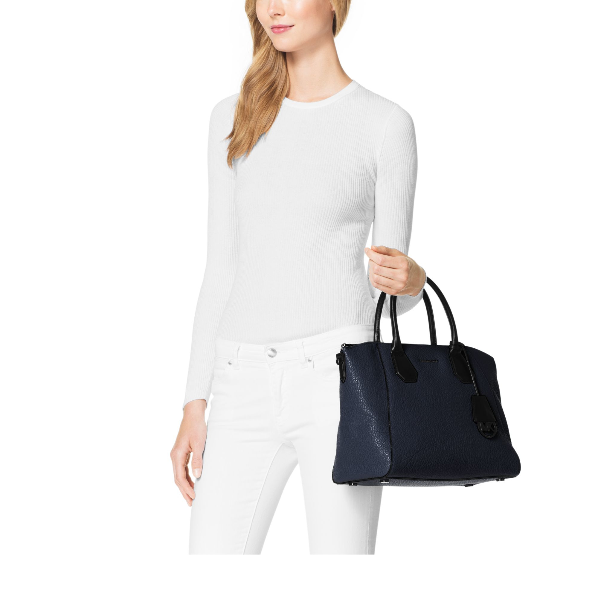 Michael kors Campbell Large Leather Satchel in Blue | Lyst