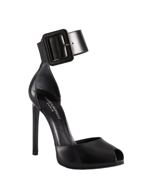 Saint laurent Black Leather Ankle Strap Open Toe Heels in Black  Lyst