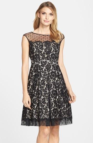 Eliza J Illusion Yoke Lace Fit Amp Flare Dress In Black Lyst