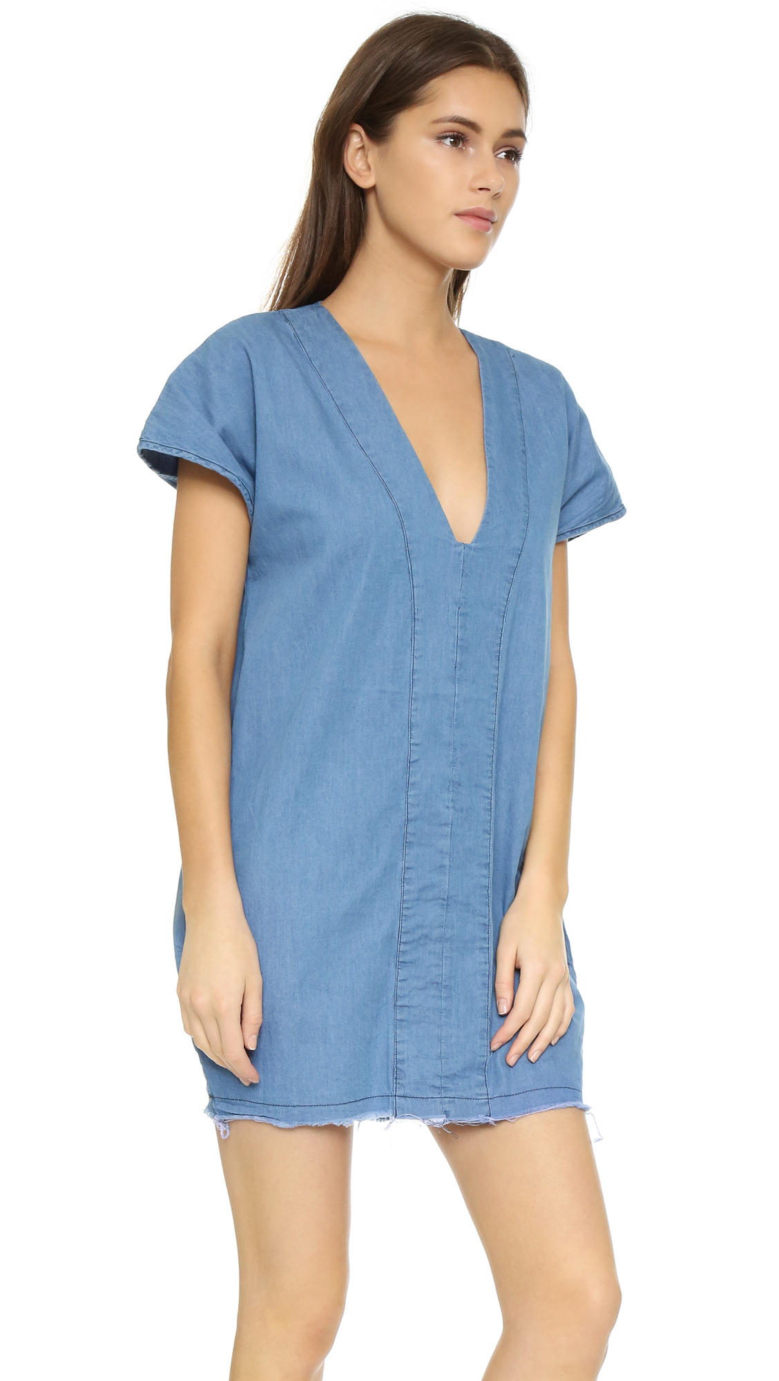 Lyst one teaspoon chambray bangalow dress in blue for Chambray dress