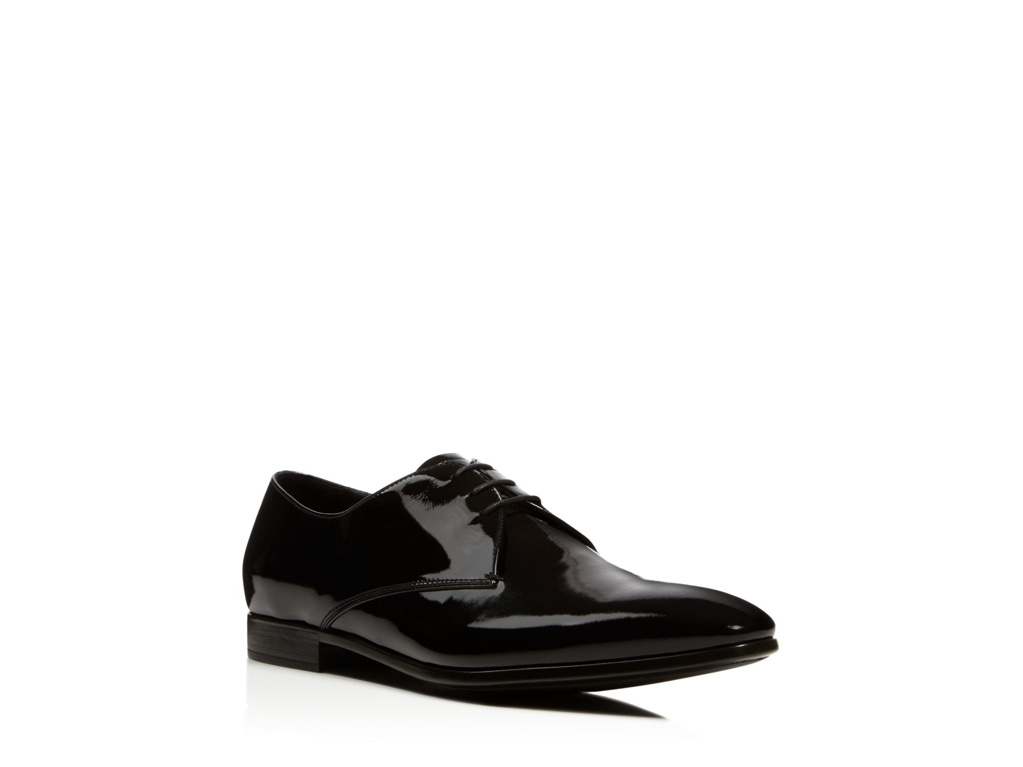 armani formal patent leather dress shoes in black for men
