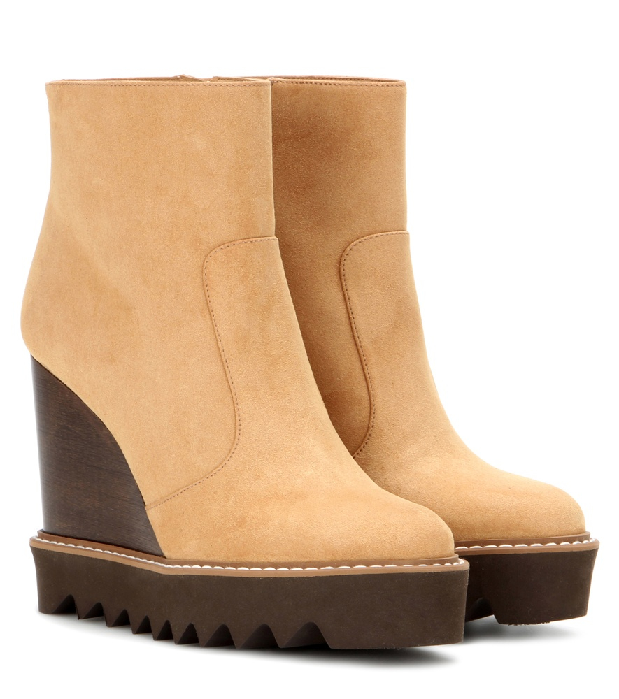 stella mccartney faux suede platform ankle boots in