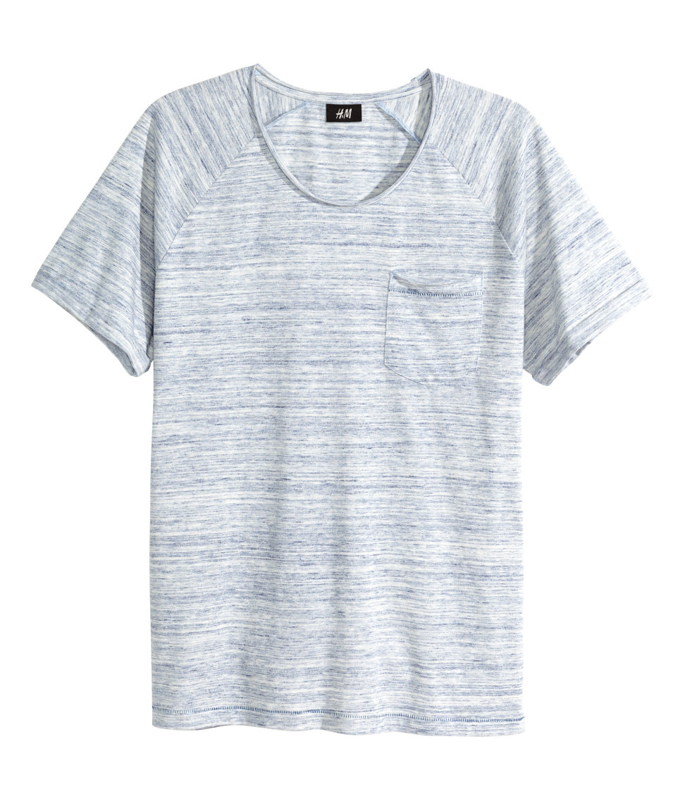 H Amp M Marled T Shirt In Blue For Men Lyst