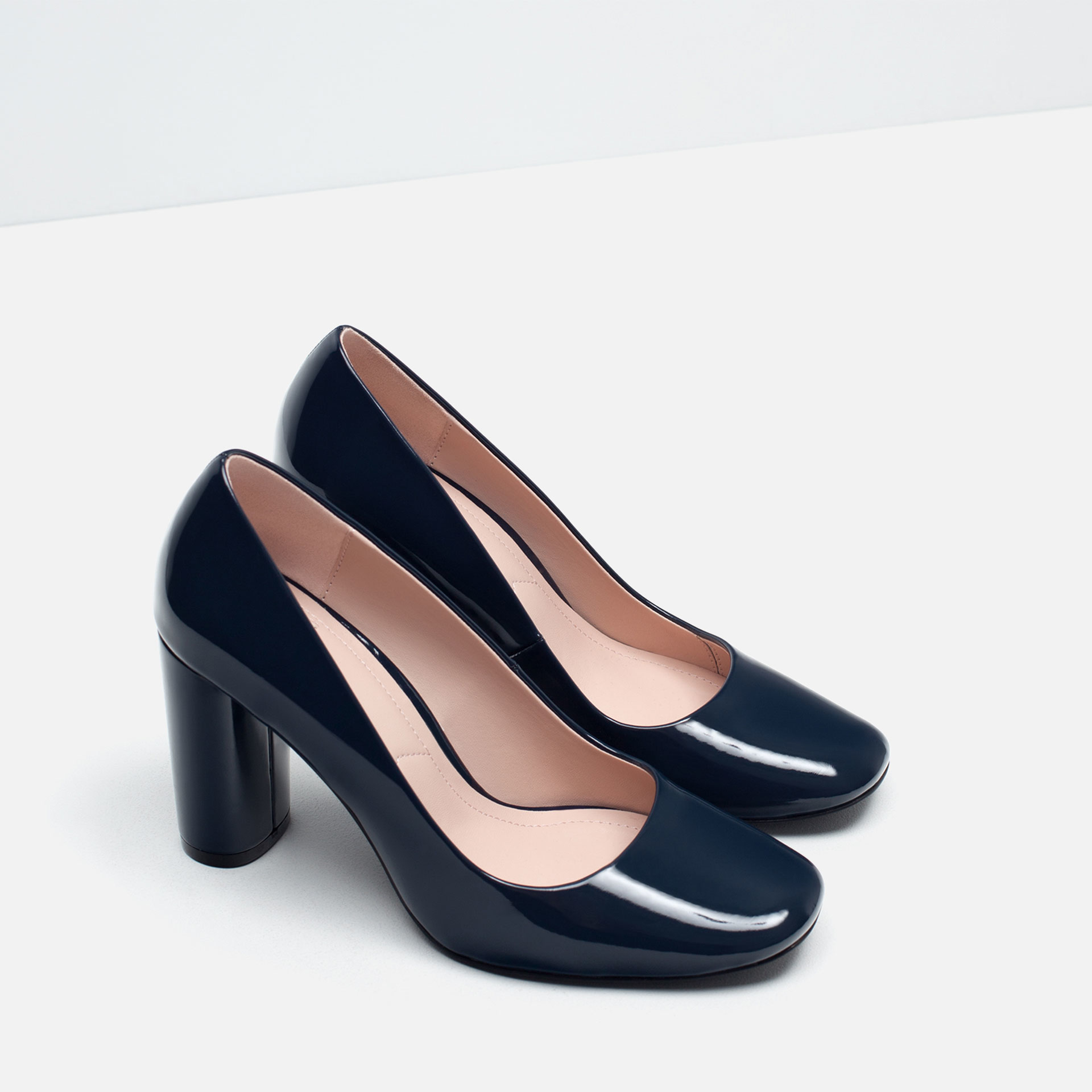 zara patent finish high heel shoes in blue lyst