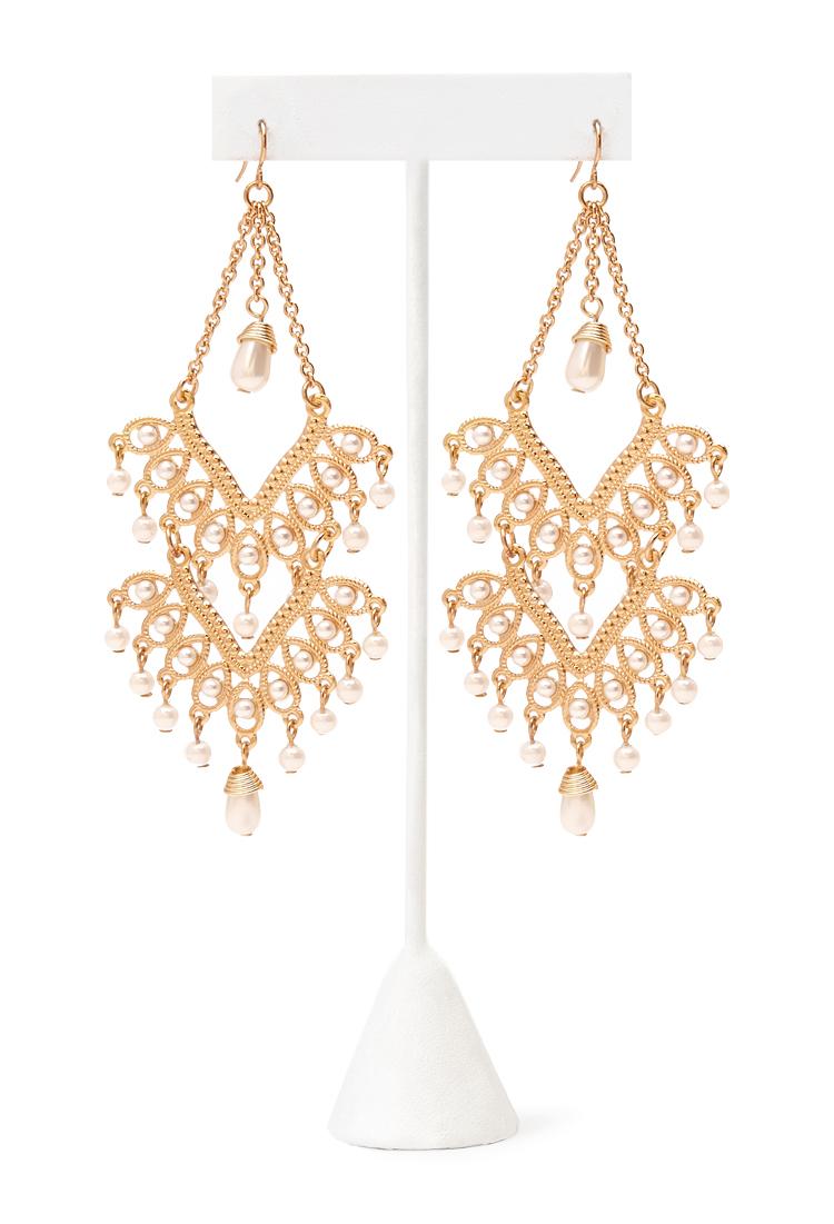 Lyst forever 21 faux pearl chandelier earrings in metallic gallery arubaitofo Gallery