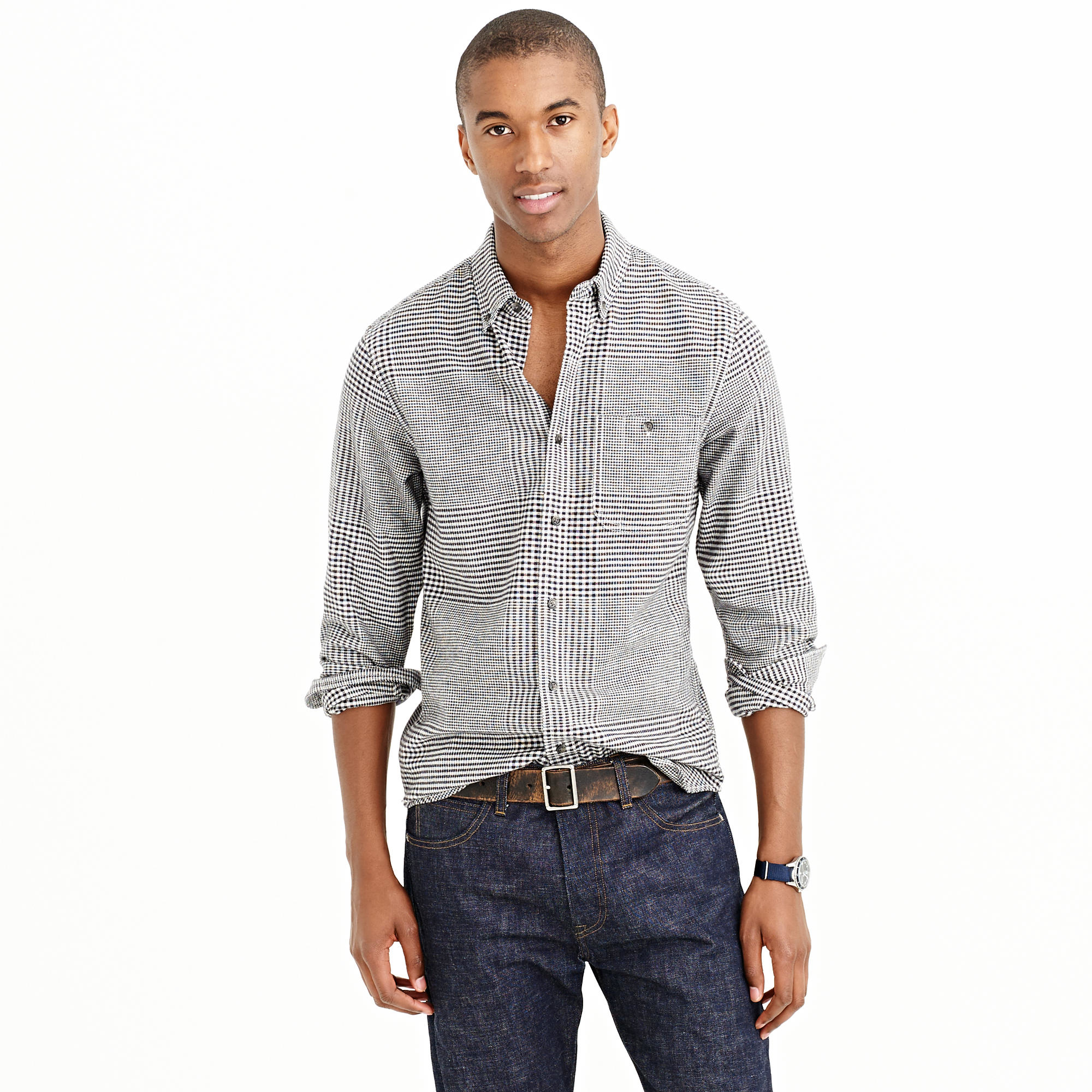 Cotton Wool Elbow Patch Shirt In Glen Plaid In