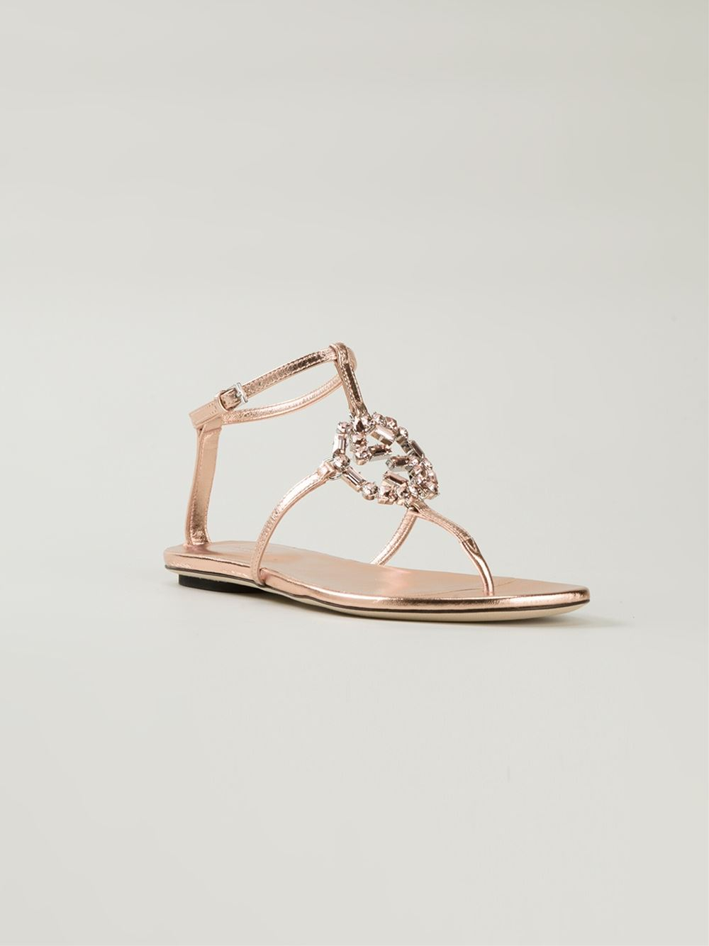 6e89463ccea Lyst - Gucci  gg  Flat Sandals in Pink