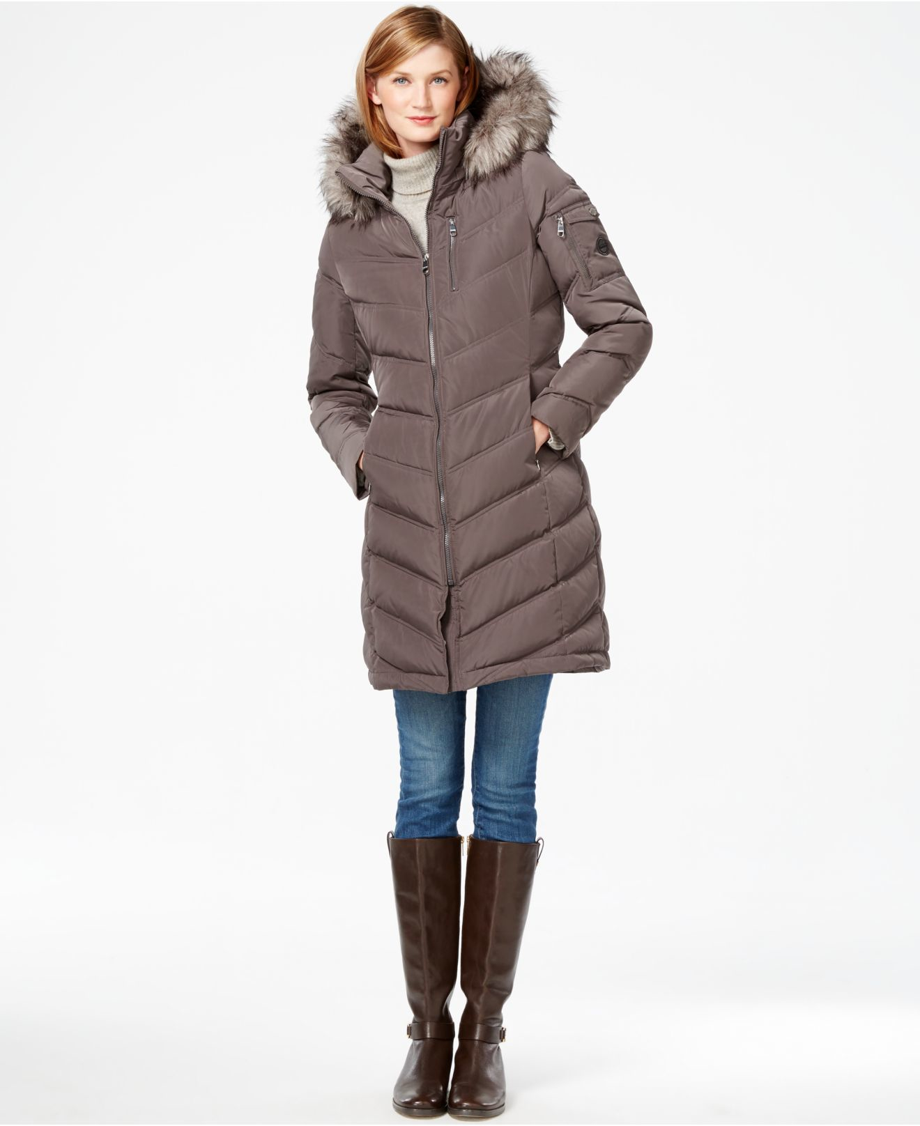 82e110c50835 Lyst - Calvin Klein Faux-fur-trimmed Hooded Down Coat in White
