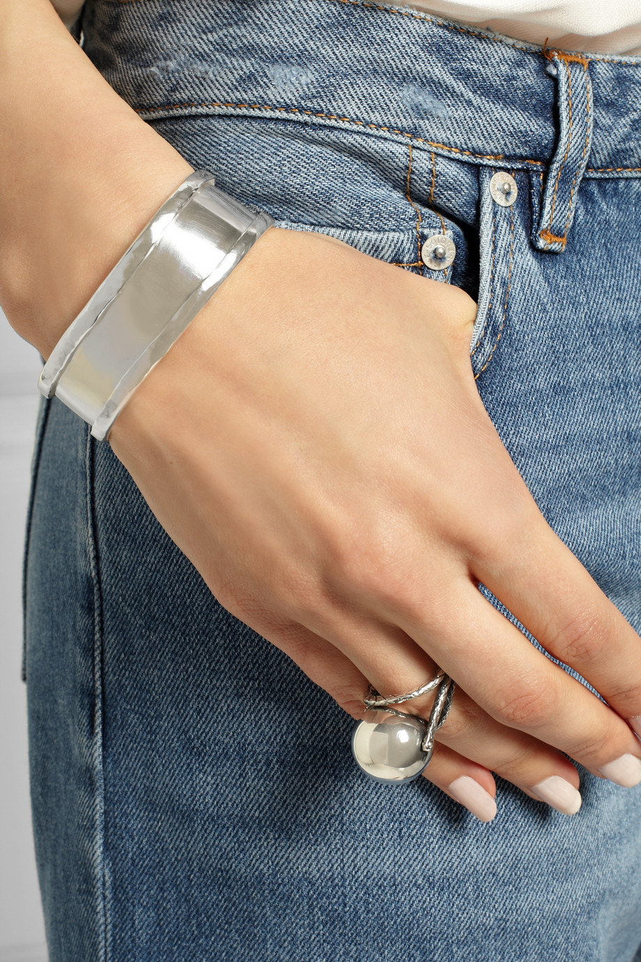 Maria Rudman March Silver Cuff In Metallic Lyst