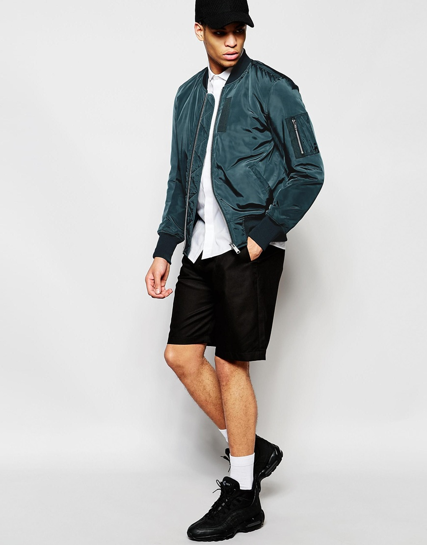 Asos Bomber Jacket With Ma1 Pocket In Teal - Green in Green for