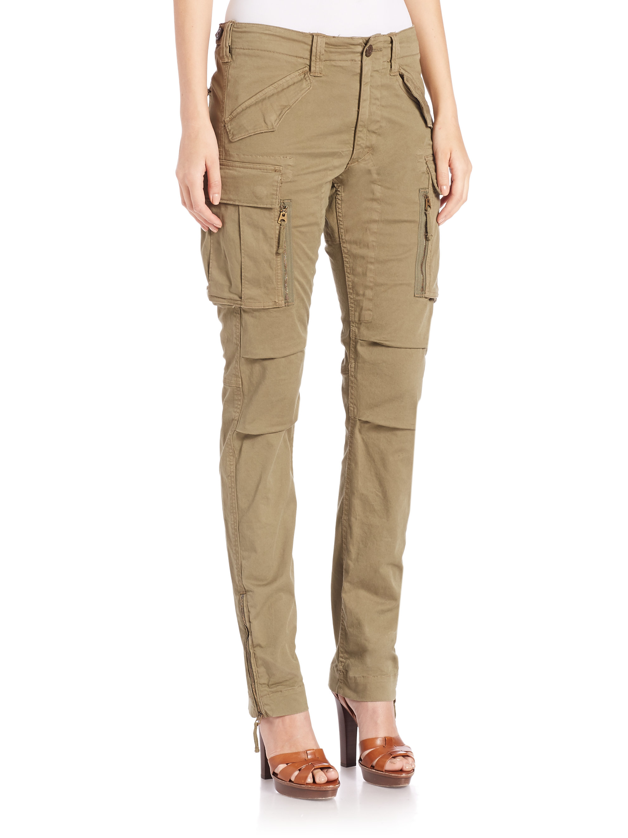 Polo ralph lauren Twill Cargo Skinny Pants in Green | Lyst