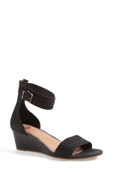 357b604a7fc UGG Black 'char Mar' Ankle Cuff Wedge Sandal