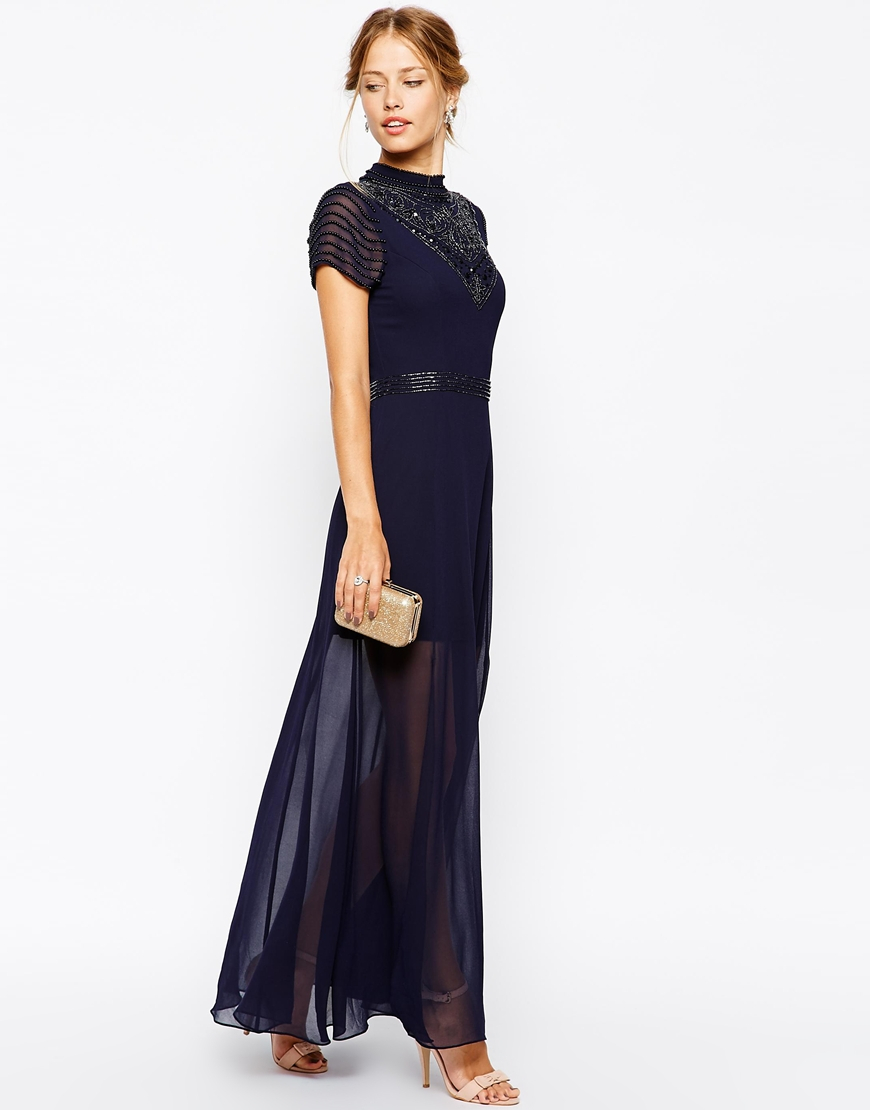 979fab61cc Lyst - Frock and Frill Maxi Dress With Jeweled High Neck in Blue