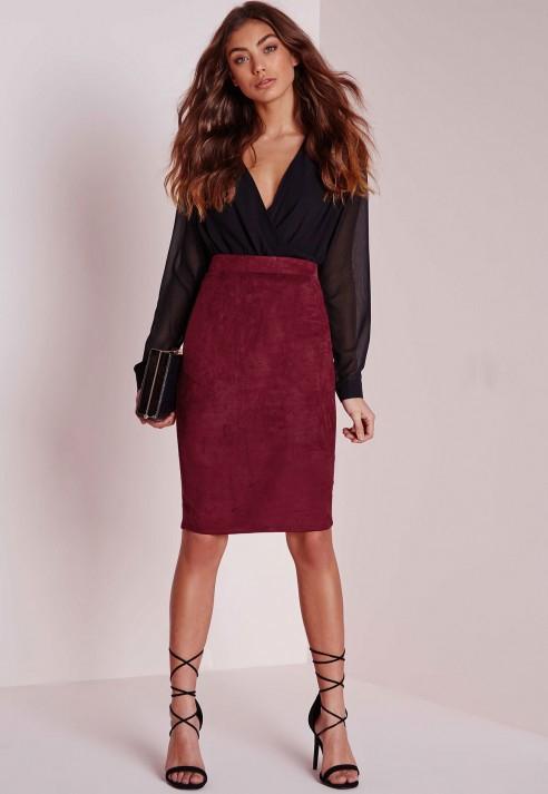 Burgundy Suede Skirt - Dress Ala