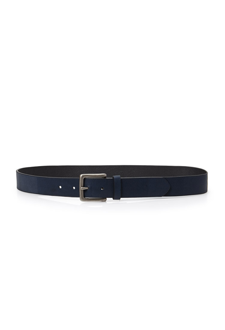 21men textured faux leather belt in blue for lyst