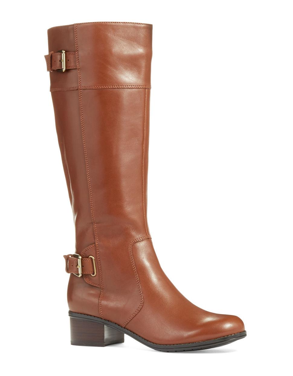 bandolino castin boots wide calf in brown lyst