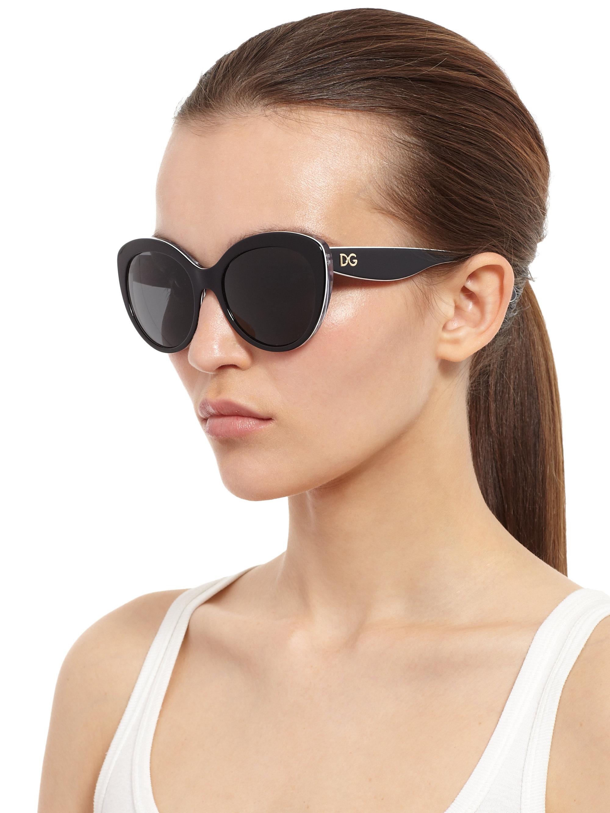 808b44311 Dolce & Gabbana Cat'S-Eye Sunglasses in Black - Lyst