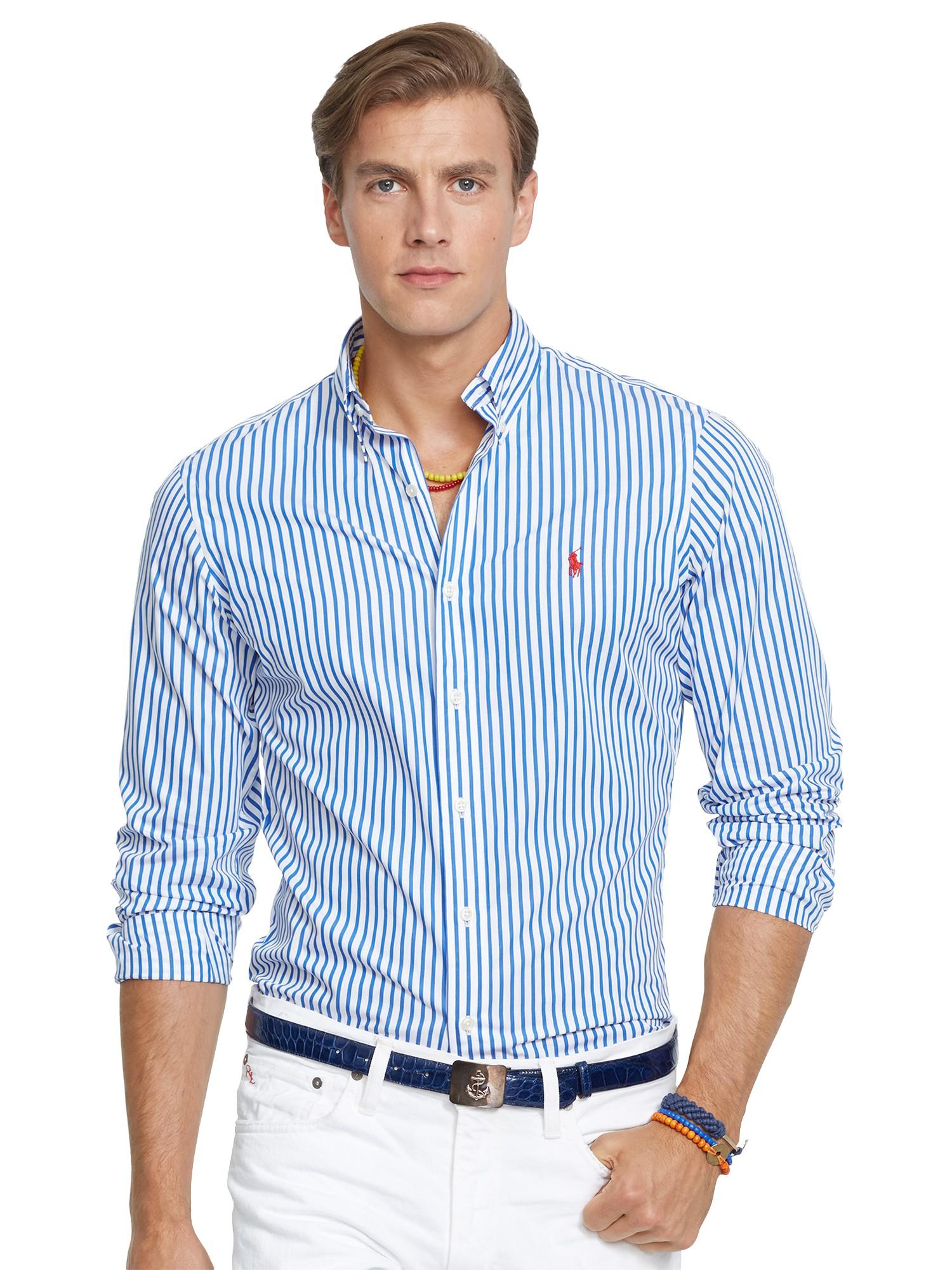 9b33de5365 ... new arrivals polo ralph lauren bengal stripe poplin shirt in blue for men  lyst 0b713 85e7a