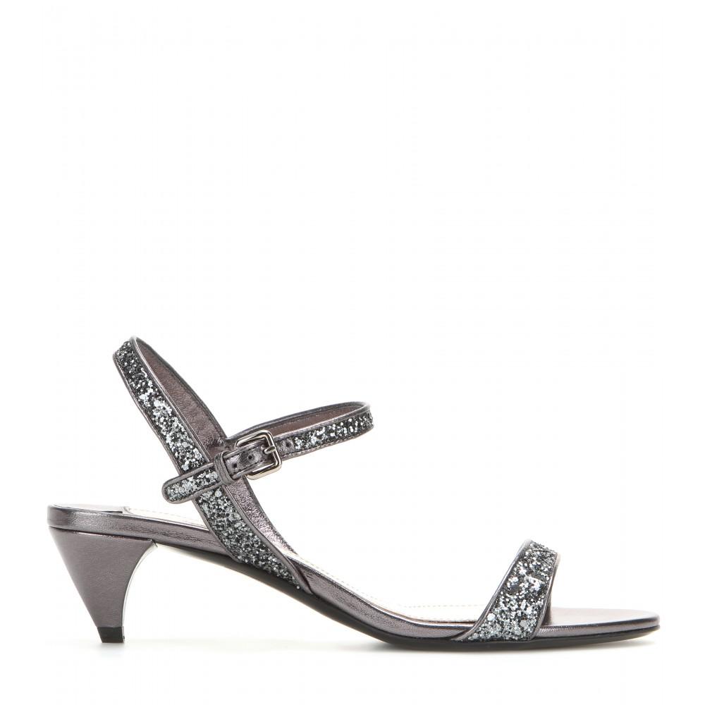 a0de1a8a20e0 Miu Miu Glitter Embellished Kitten-heel Sandals in Metallic - Lyst