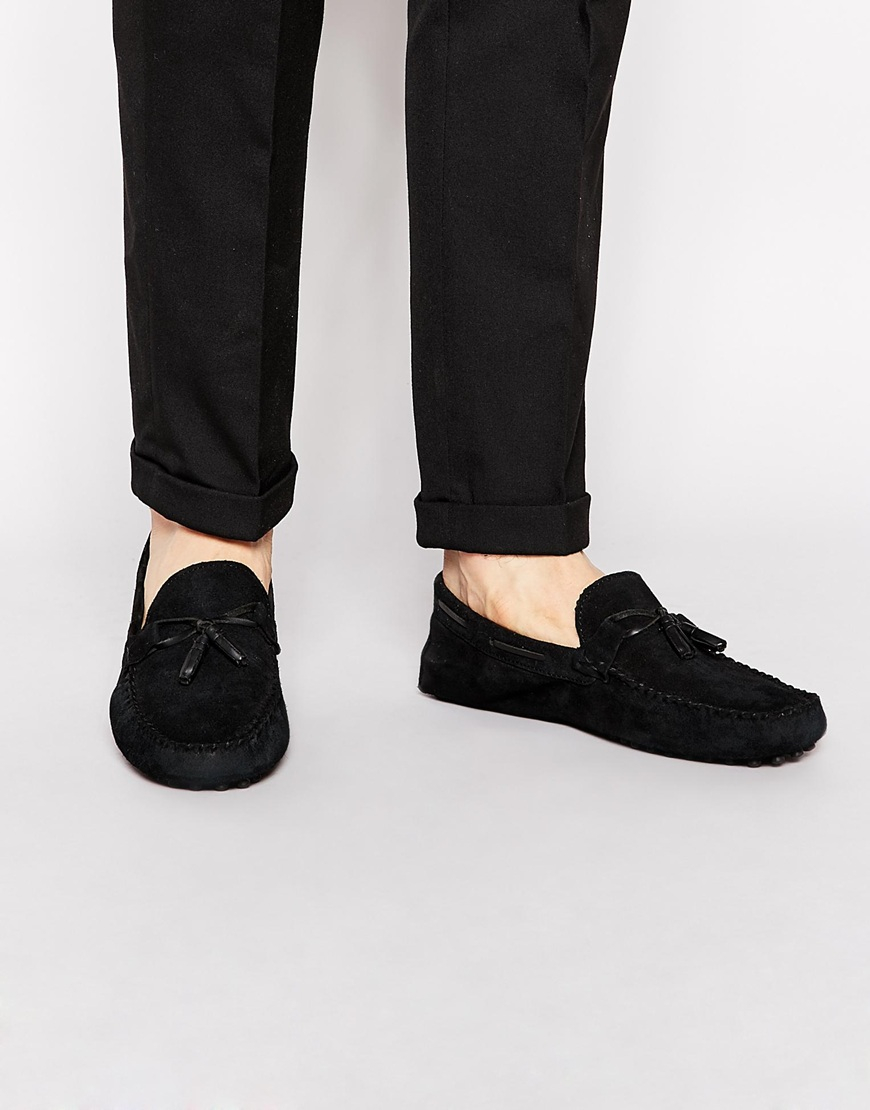 ASOS Driving Shoes In Suede in Black