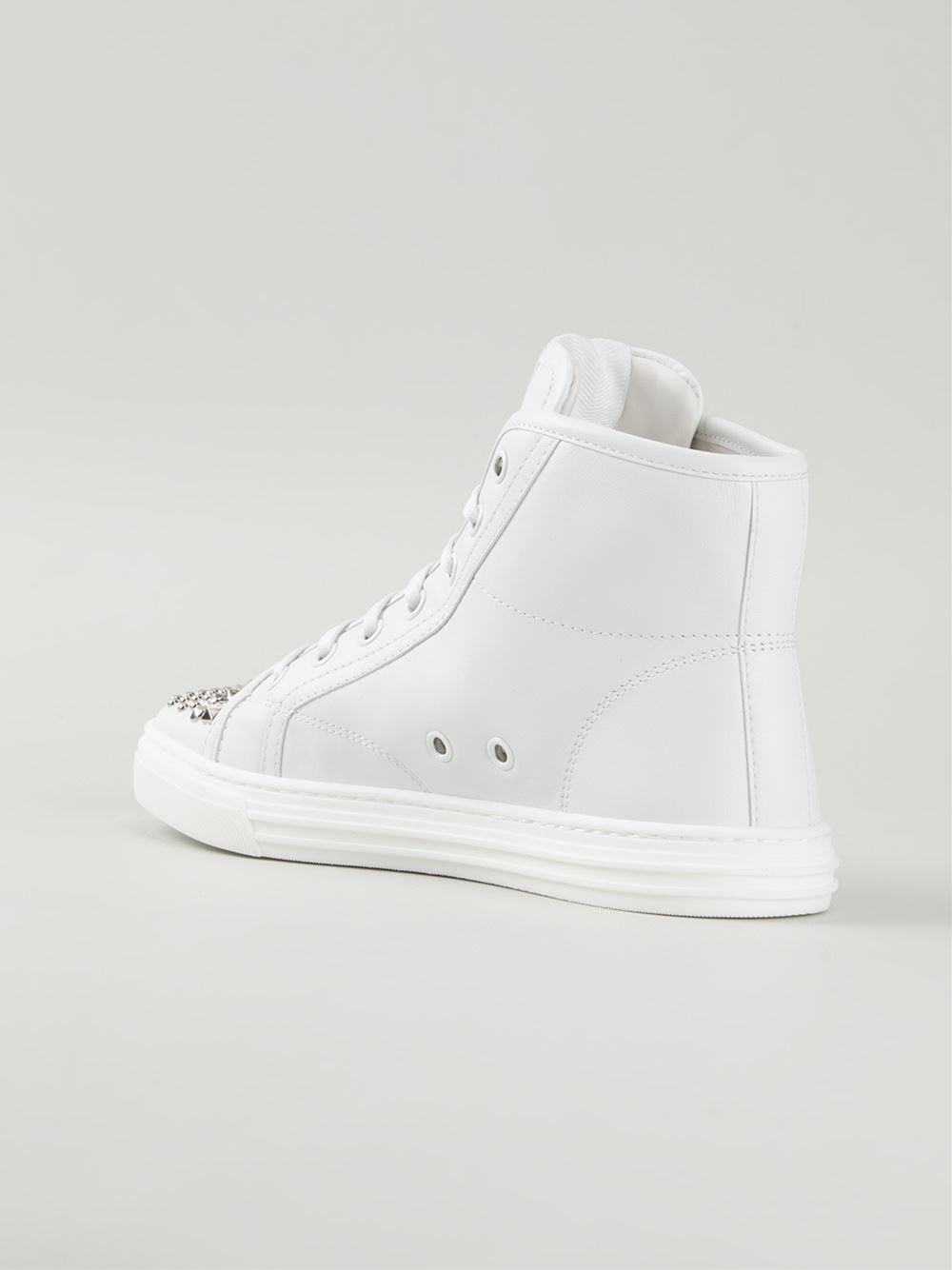 gucci studded hi top sneakers in white lyst. Black Bedroom Furniture Sets. Home Design Ideas