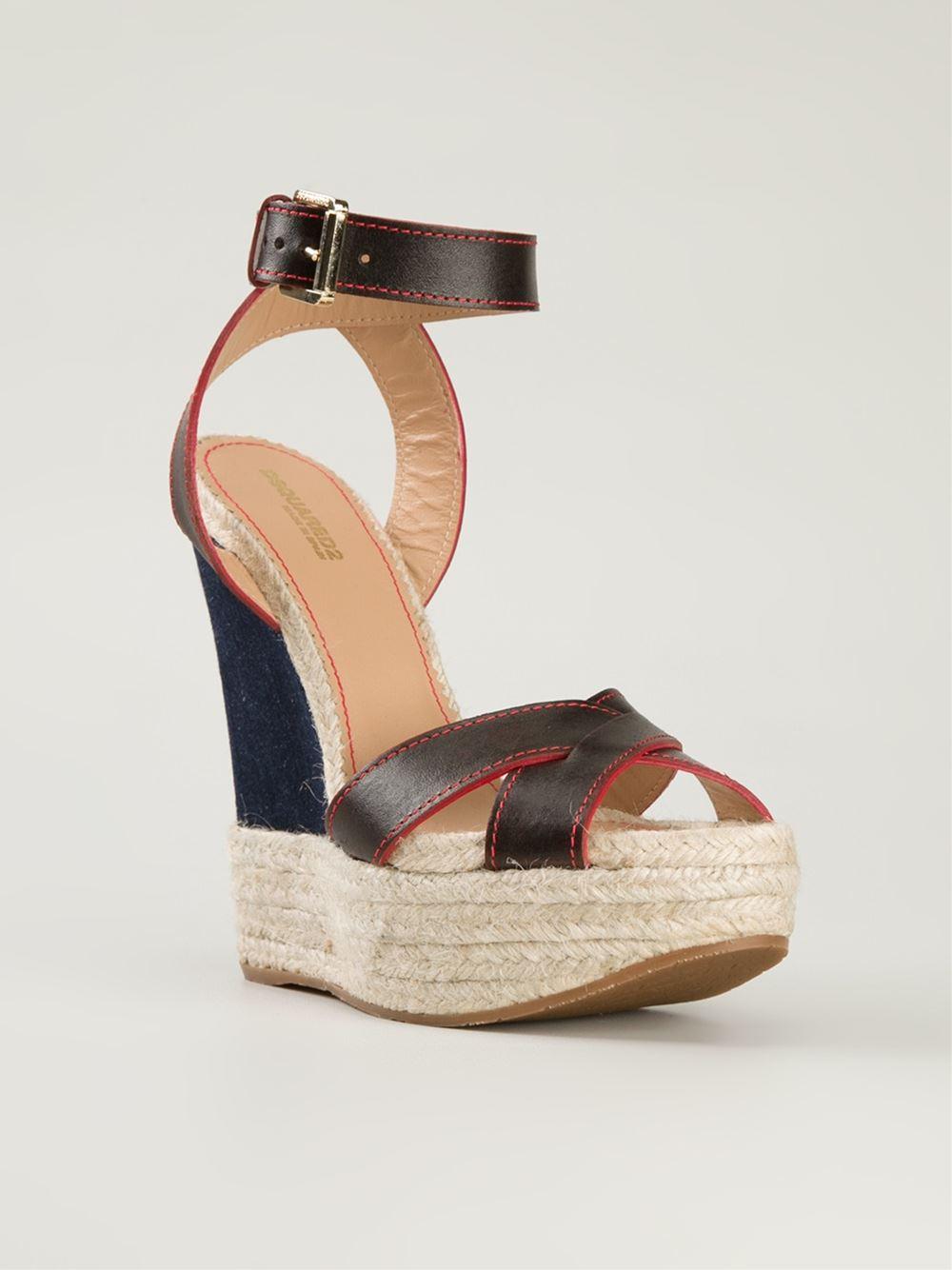 dsquared 178 denim wedge sandals in black lyst