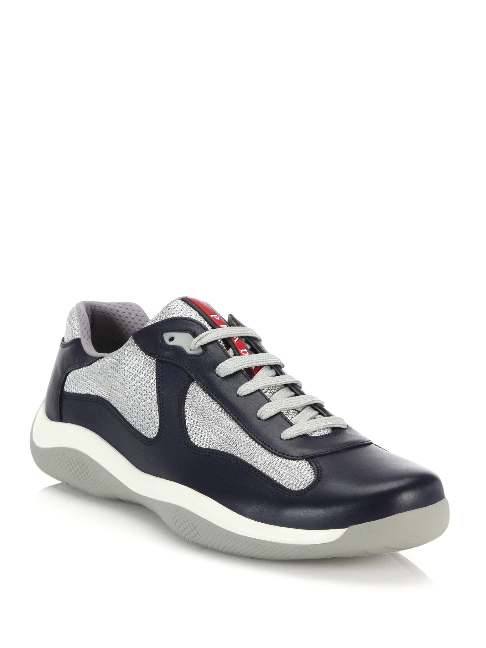 Prada Leather & Mesh Sneakers in White for Men | Lyst