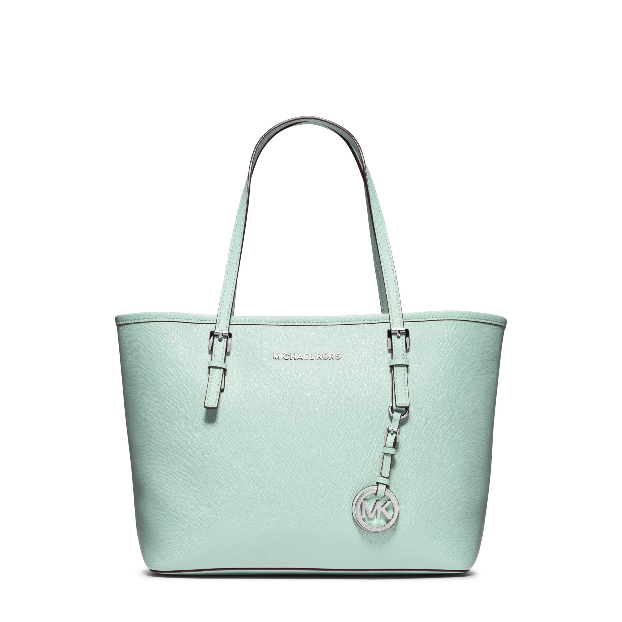 086571617e25d0 Michael Kors Jet Set Travel Small Saffiano Leather Tote in Green - Lyst