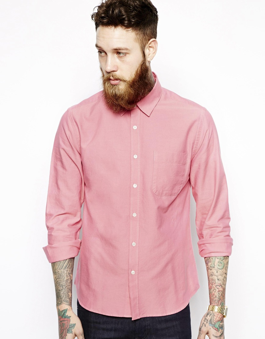 Ymc oxford shirt in slim fit in pink for men lyst for Pink oxford shirt men