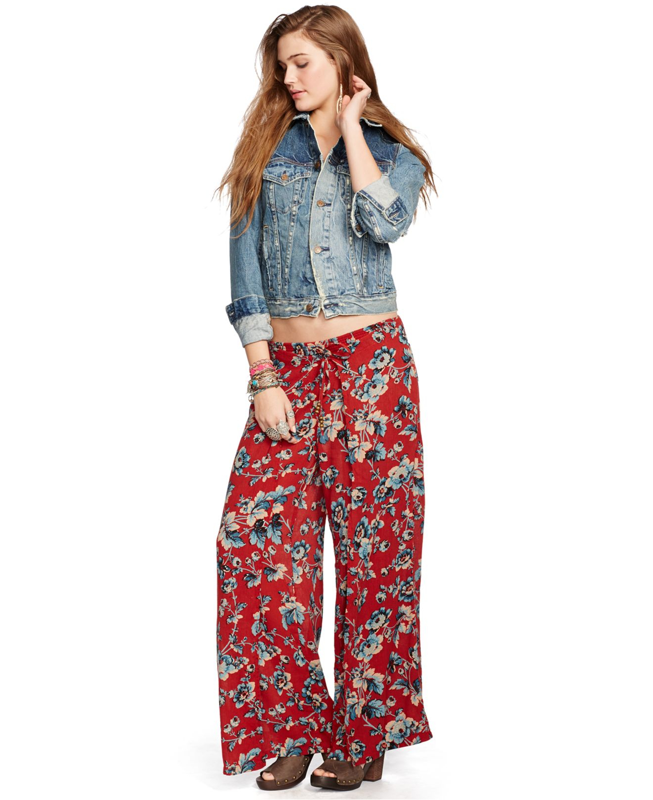 Denim & supply ralph lauren Floral-Print Smocked Wide-Leg Pants | Lyst