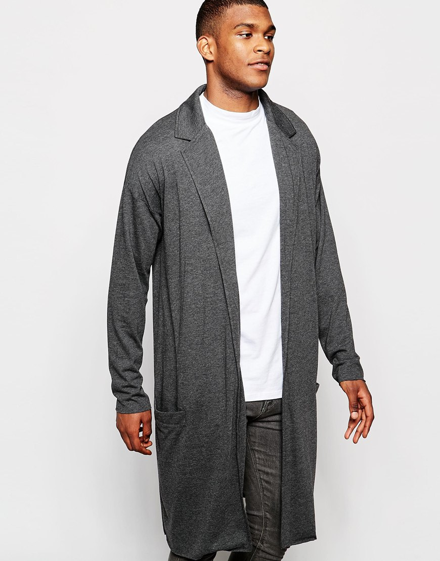 Asos Extreme Longline Lightweight Jersey Duster Coat in Gray for ...