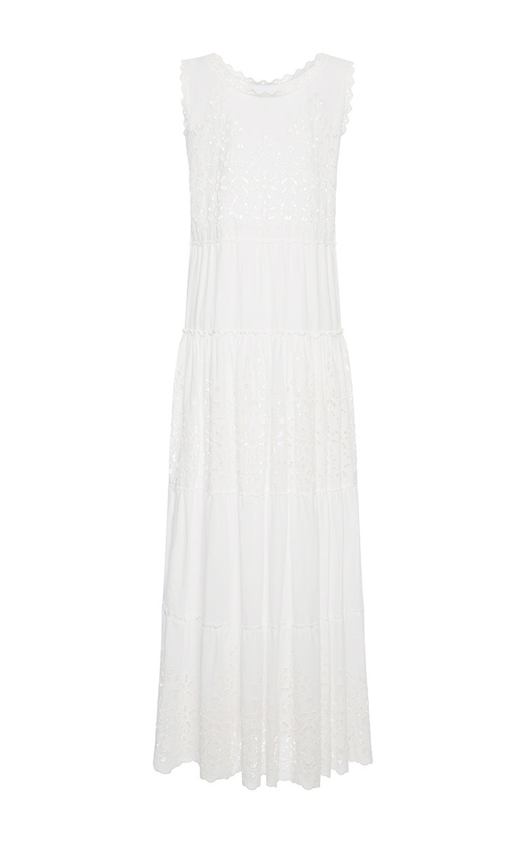 4754e0f2060c Lyst - Luisa Beccaria Cotton And Eyelet Long Dress in White