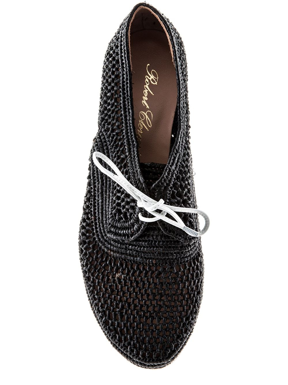 robert clergerie low wedge lace up shoes in black lyst