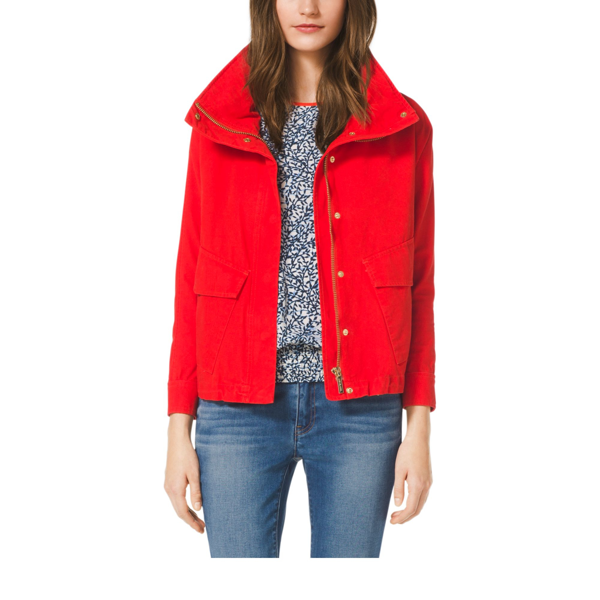 Michael kors Cropped Canvas Jacket, Petite in Red   Lyst