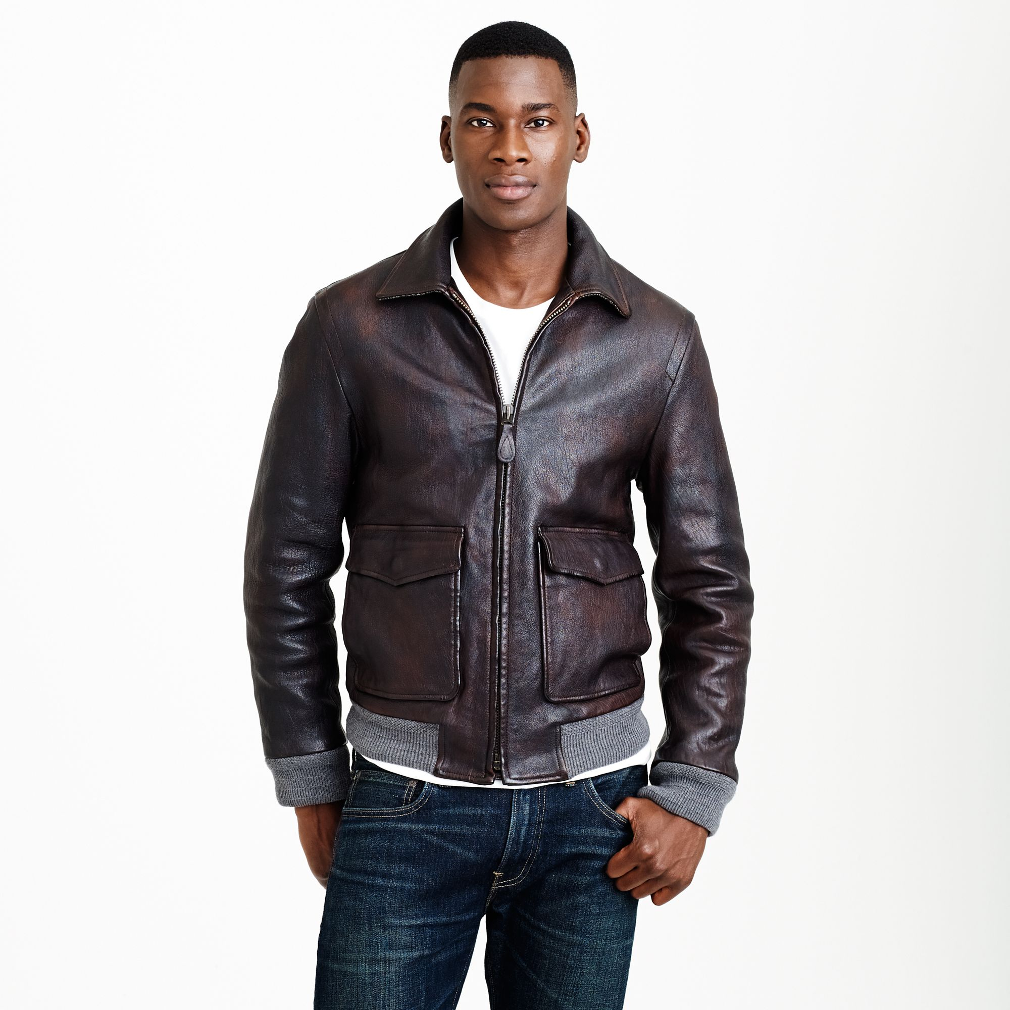 Leather flight jacket in brown for men suede brown for J crew mens outfits
