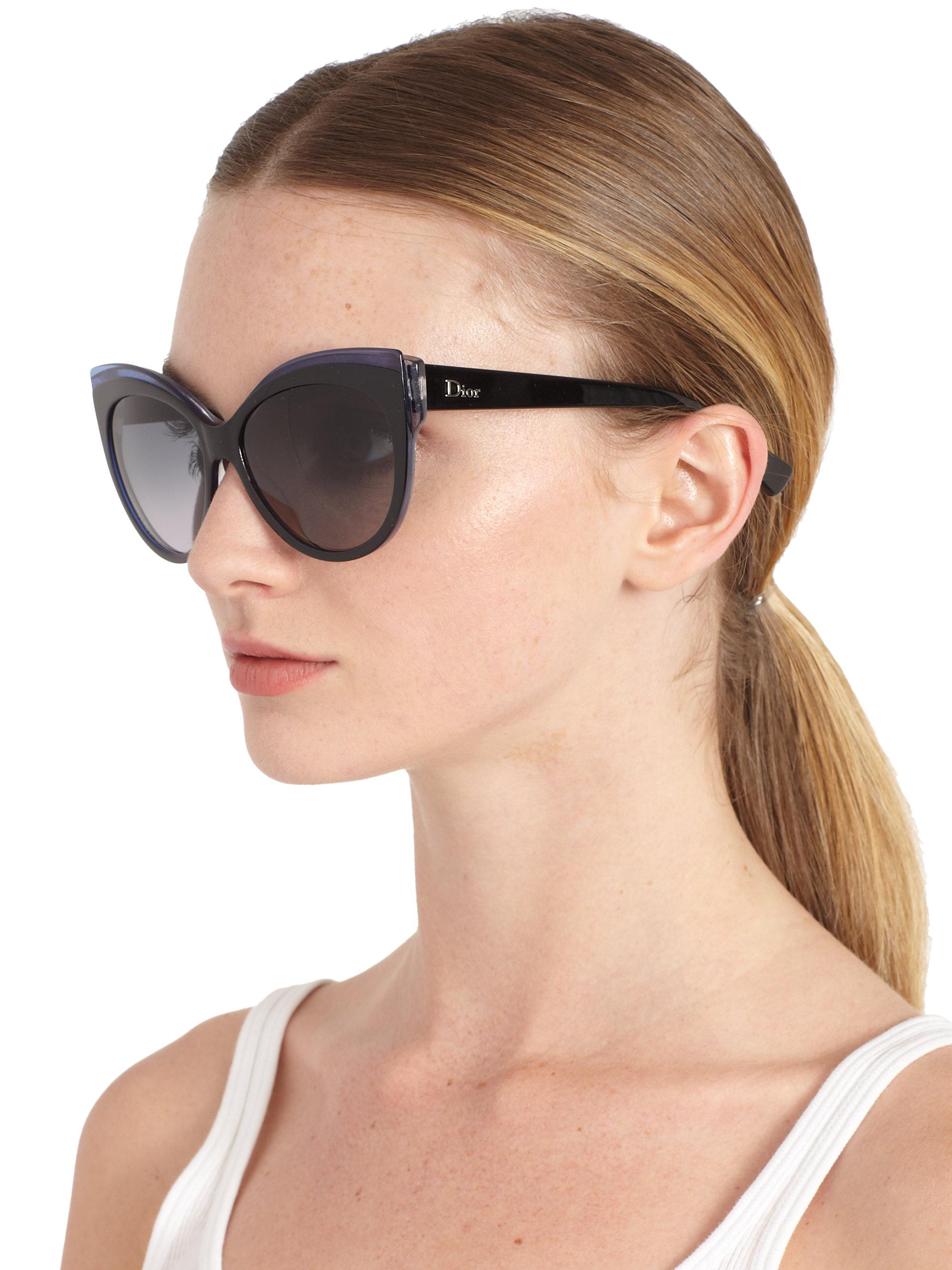 Dior Glisten Oversized Rectangular Sunglasses In Blue Lyst