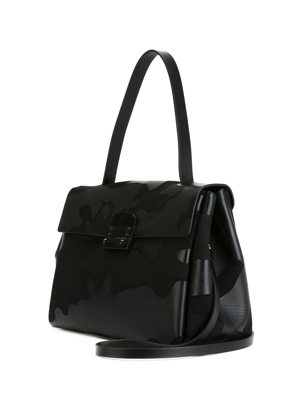 Lyst Valentino Single Handle Camouflage Tote In Black