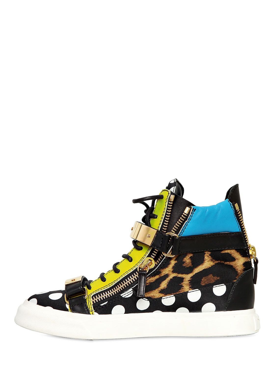 Giuseppe Zanotti 20mm Satin and Leather Sneakers