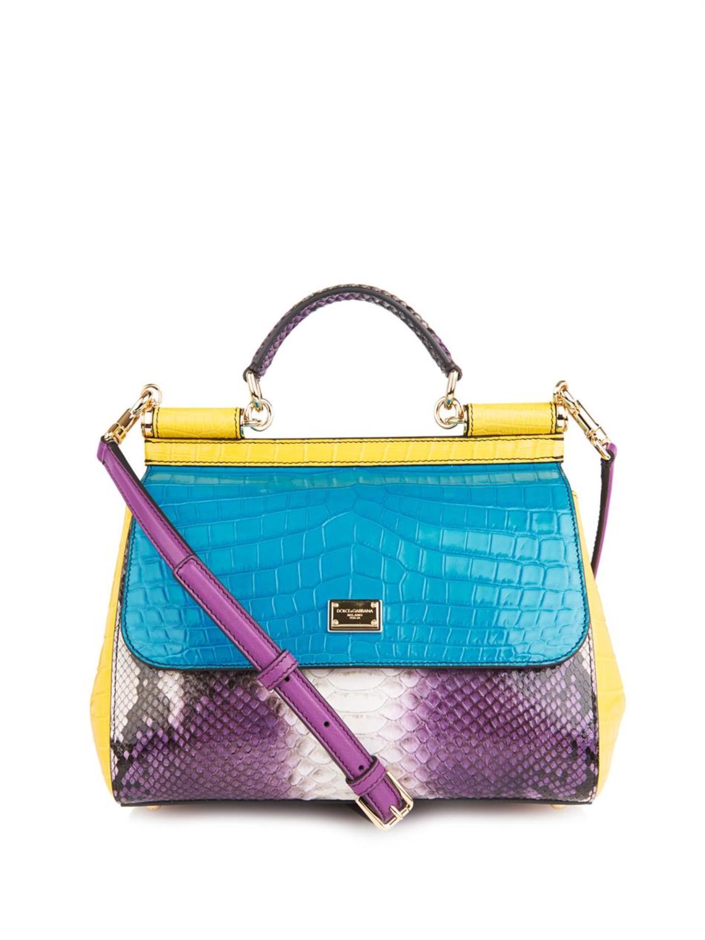 902907851e Lyst - Dolce   Gabbana Sicily Crocodile And Snake Cross-body Bag
