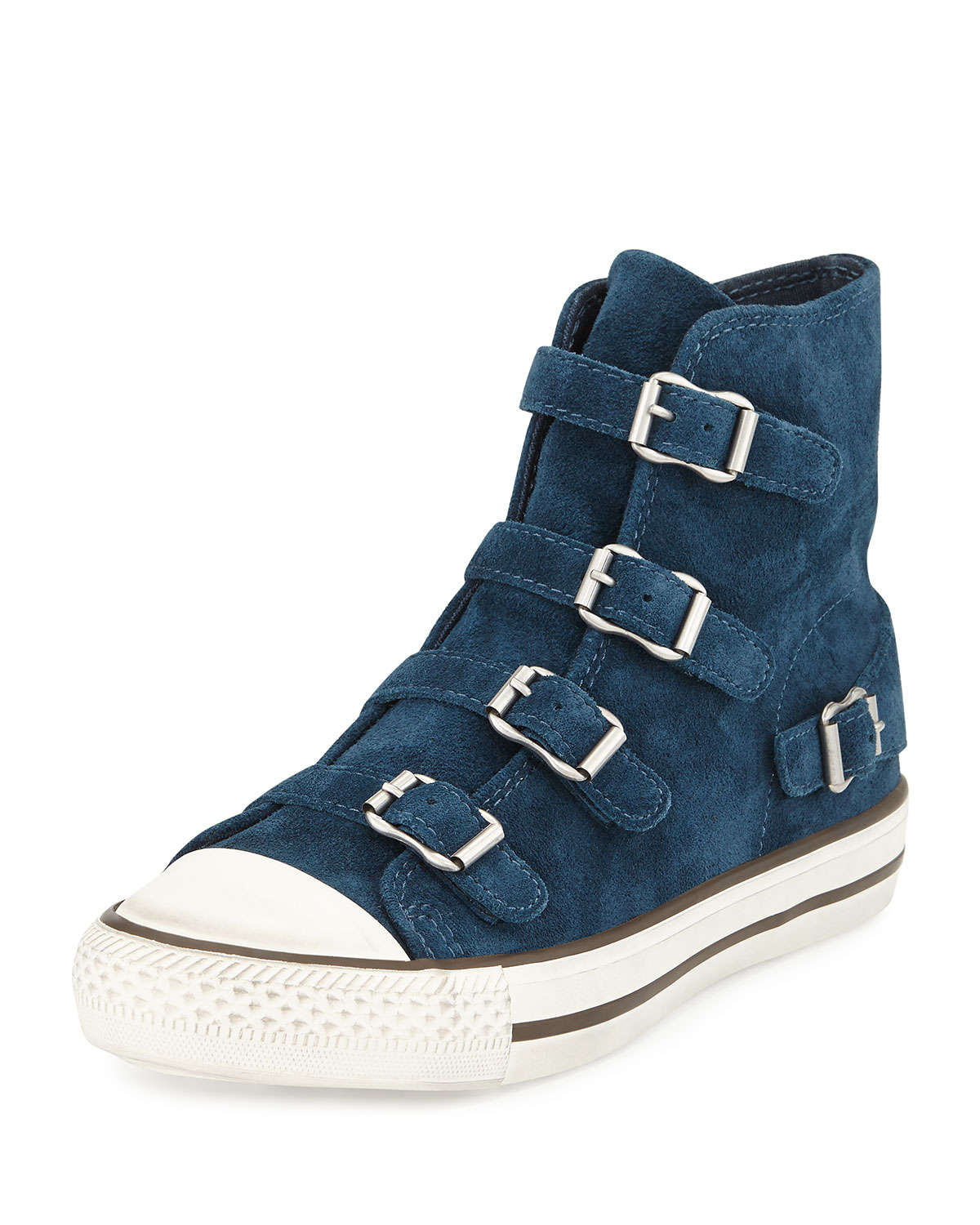 lyst ash virgin buckled suede high top sneakers in blue. Black Bedroom Furniture Sets. Home Design Ideas