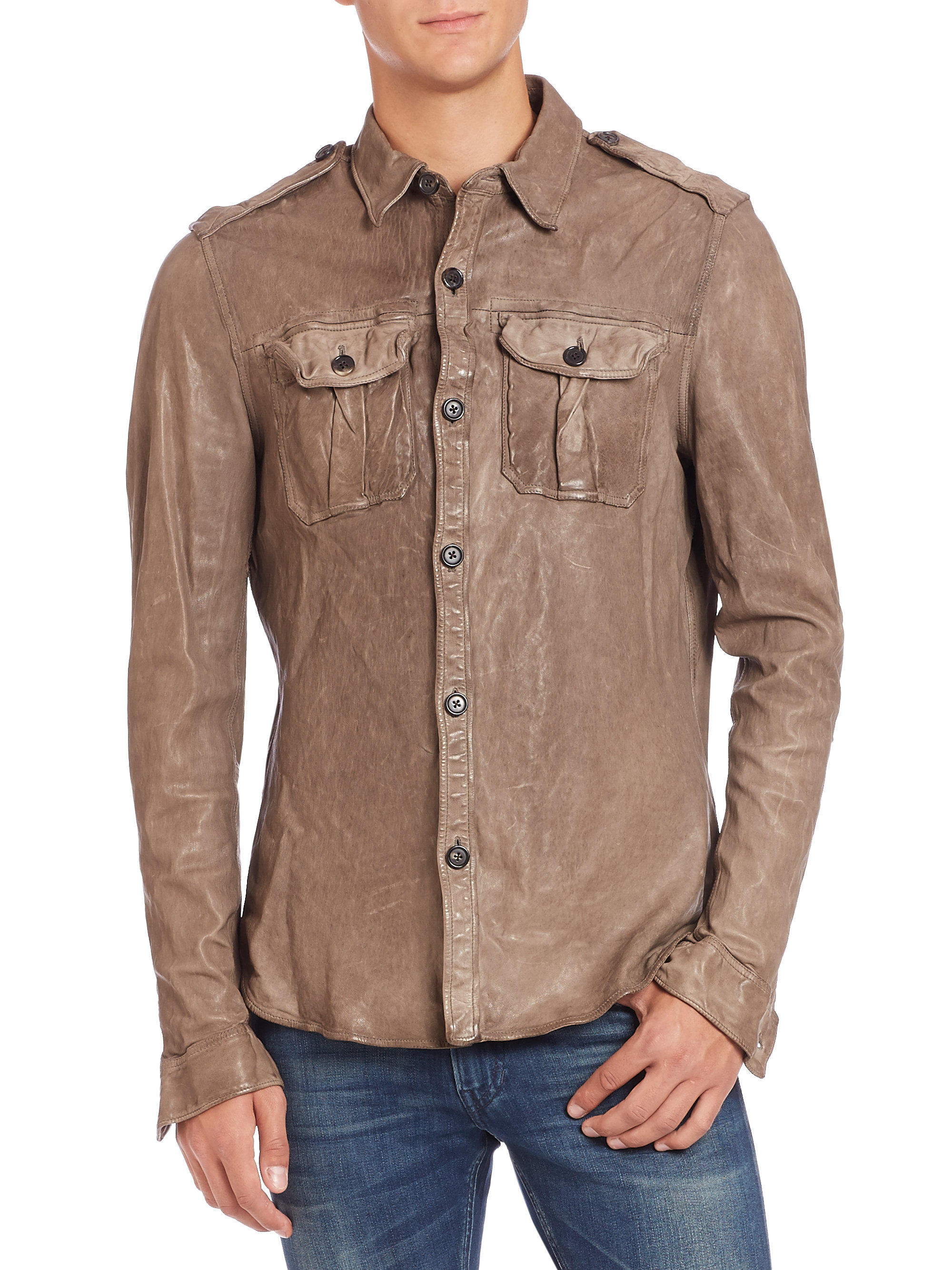 ralph black label leather flight shirt in brown for
