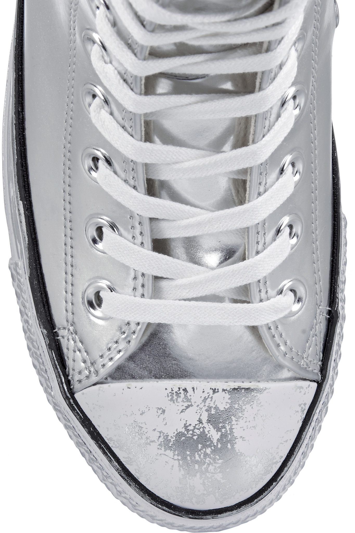 98487c5fdc8 Lyst - Converse Chuck Taylor All Star Chrome Metallic Leather High ...