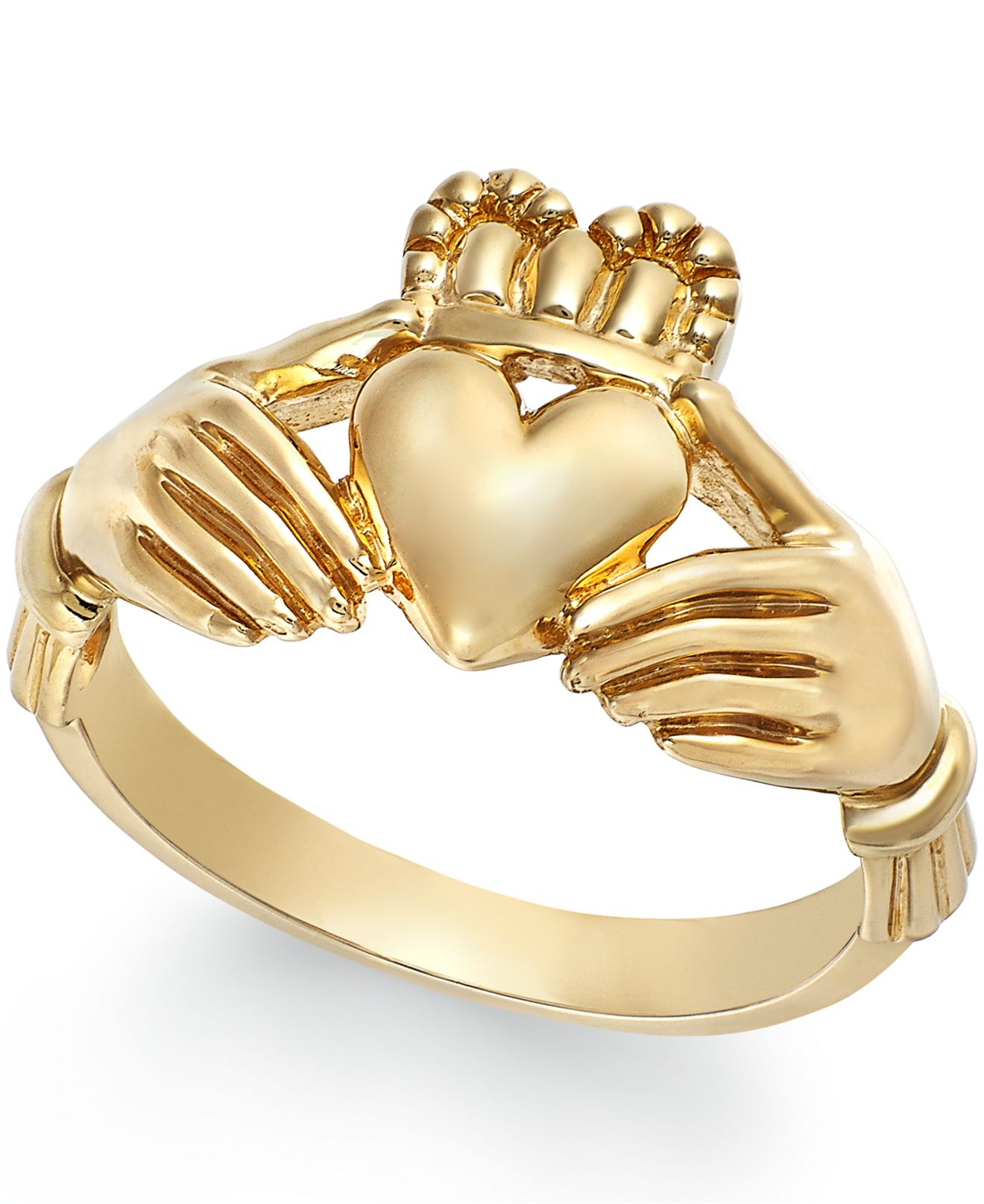 macy 39 s men 39 s claddagh ring in 10k gold in yellow lyst. Black Bedroom Furniture Sets. Home Design Ideas