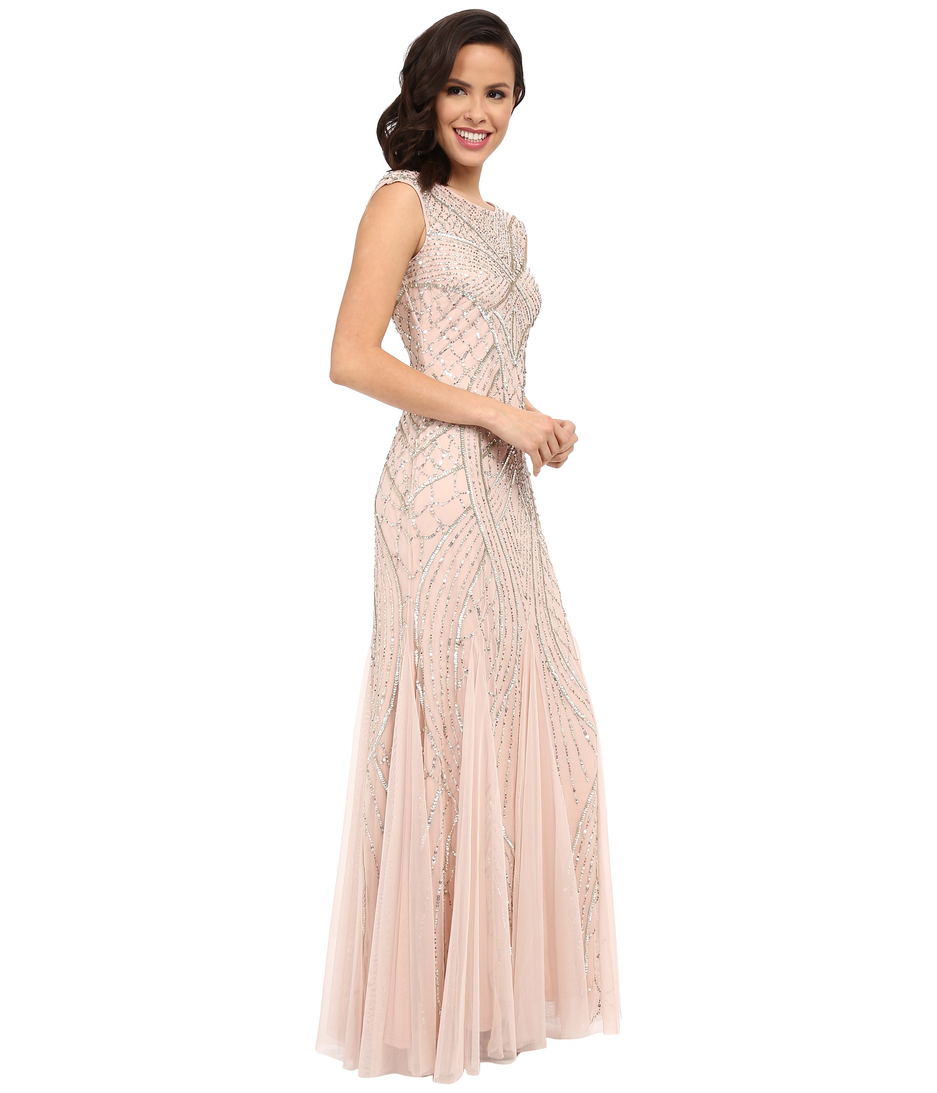 71385e322f79e6 Adrianna Papell Long Beaded Gown W/ Godets in Natural - Lyst