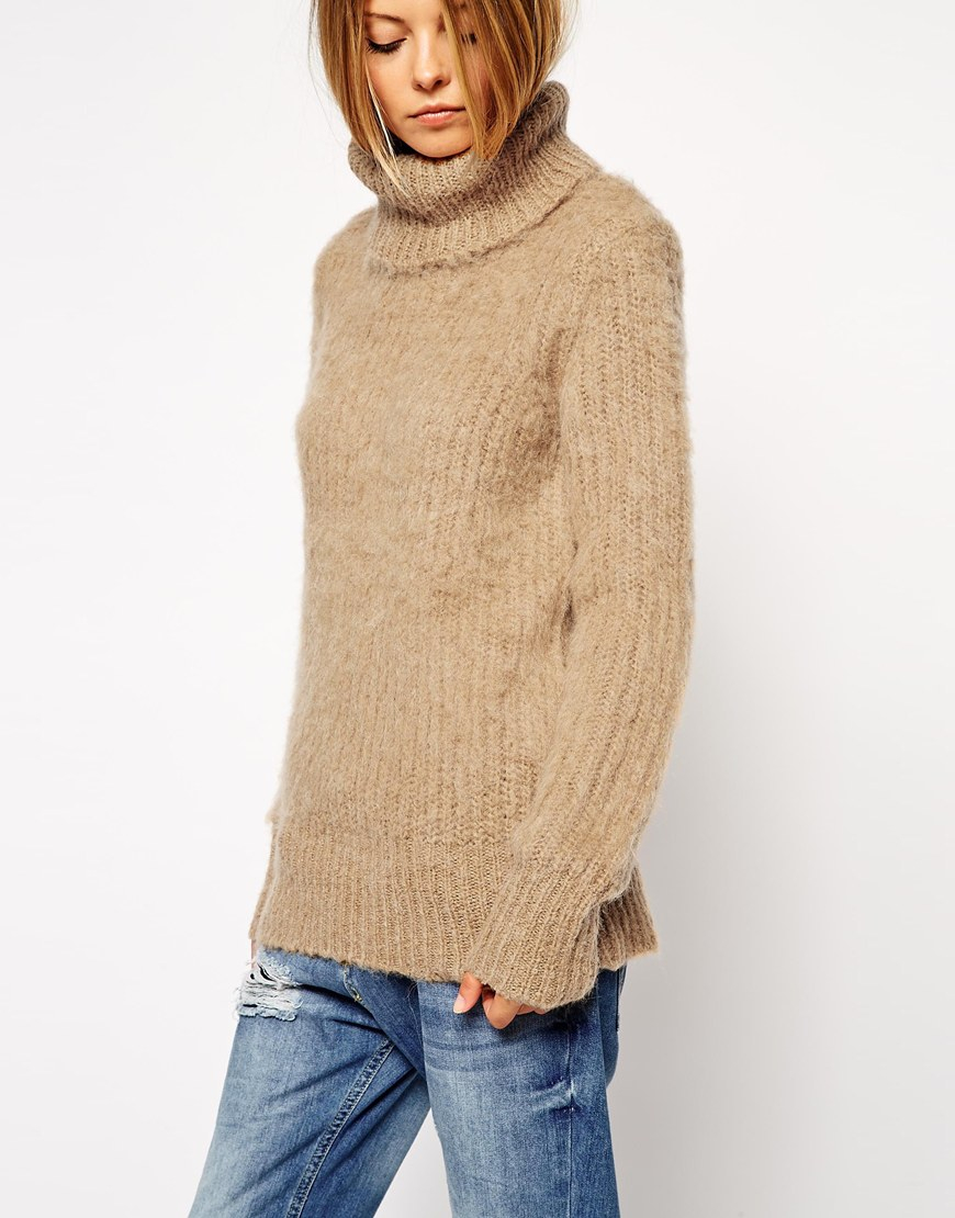 3bad07d9b Lyst - ASOS Jumper In Brushed Alpaca With Roll Neck in Natural