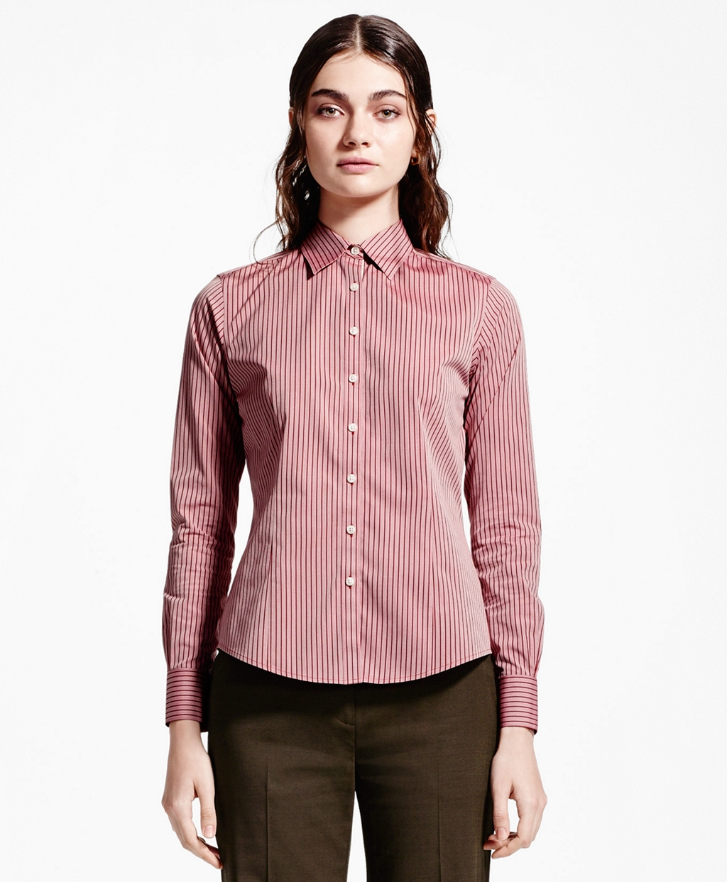 Brooks brothers petite non iron fitted stripe dress shirt for Brooks brothers non iron shirts review