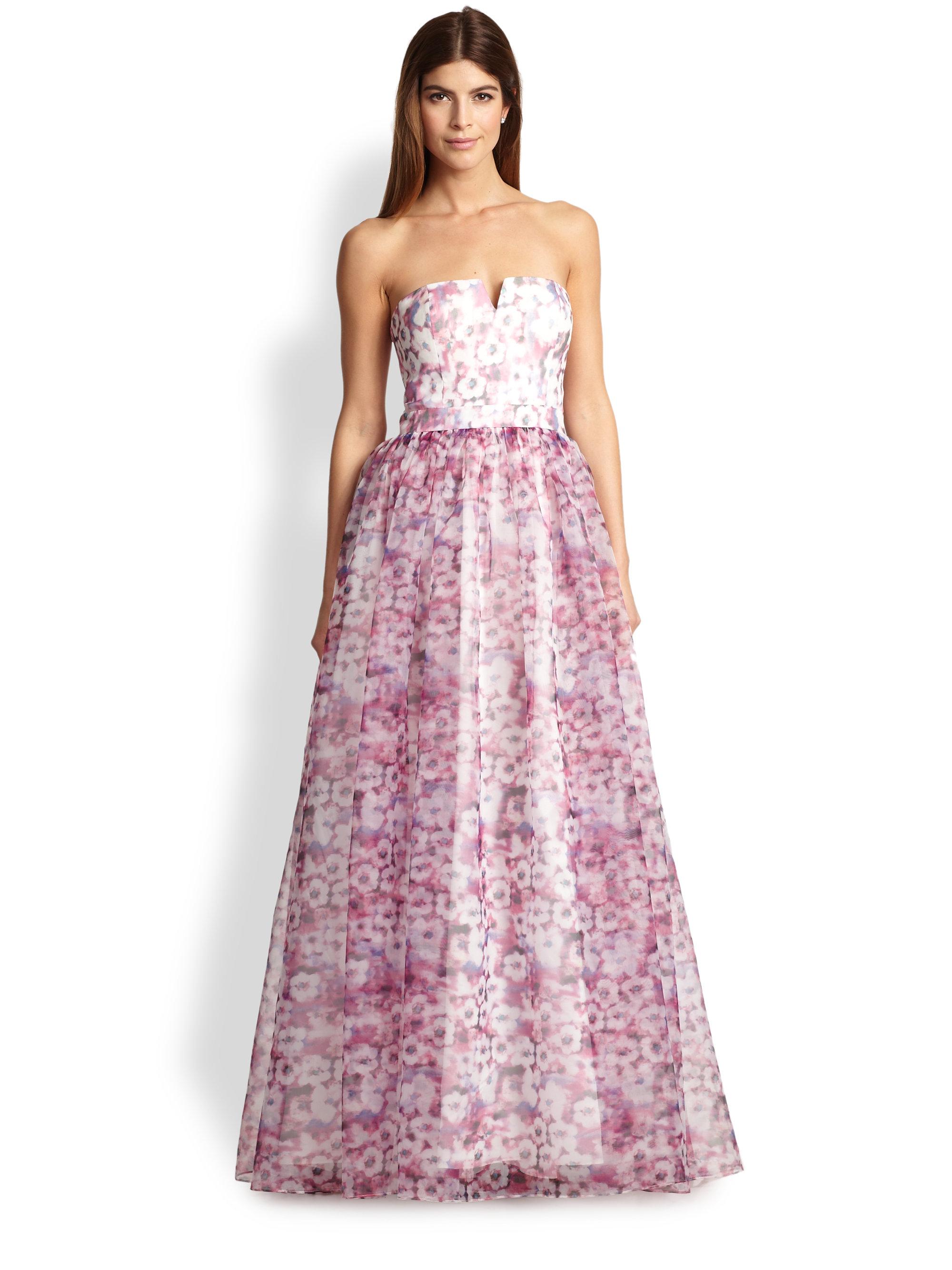 Lyst - Aidan Mattox Strapless Floral Organza Ball Gown
